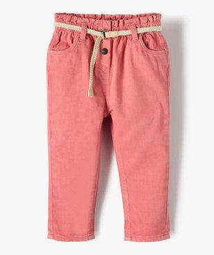 Pantalon bébé fille en toile avec ceinture tressée vue1 - GEMO(BEBE DEBT) - GEMO