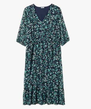 Robe femme longue imprimée à manches 3/4 vue4 - GEMO (G TAILLE) - GEMO