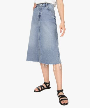 Jupe femme en jean longueur mollets – Lulu Castagnette vue1 - LULUCASTAGNETTE - GEMO