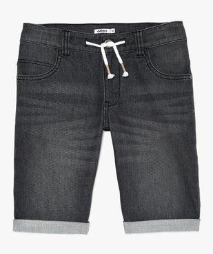 Bermuda garçon en jean extensible avec ceinture cordon vue1 - GEMO (JUNIOR) - GEMO