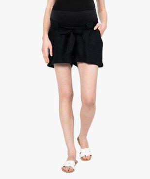 Short de grossesse en lin avec ceinture stretch vue1 - GEMO C4G MATERN - GEMO