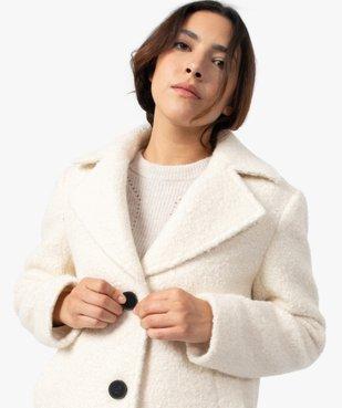 Manteau femme mi-long en matière bouclette à col tailleur vue2 - GEMO(FEMME PAP) - GEMO