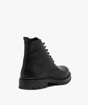 Boots homme dessus cuir uni et semelle crantée vue4 - GEMO(URBAIN) - GEMO