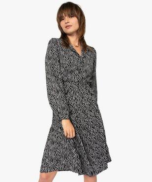Robe femme midi imprimée à manches longues et col chemise  vue1 - GEMO(FEMME PAP) - GEMO