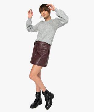 Jupe femme évasée en synthétique imitation cuir avec ceinture vue5 - GEMO(FEMME PAP) - GEMO