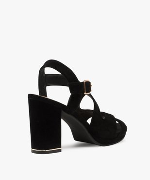 Sandales femme en suédine unie et talon carré vue4 - GEMO(URBAIN) - GEMO