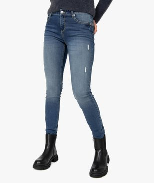 Jean femme coupe Slim aspect usé vue1 - GEMO(FEMME PAP) - GEMO