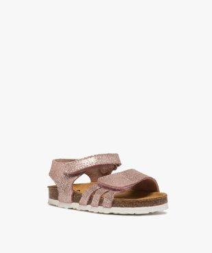 Sandales bébé fille à scratch et brides en cuir métallisées vue2 - GEMO(BEBE DEBT) - GEMO