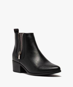 Boots femme à talon large avec zip décoratif vue2 - GEMO (CASUAL) - GEMO