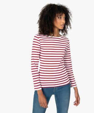 Tee-shirt femme rayé à manches longues vue1 - GEMO(FEMME PAP) - GEMO