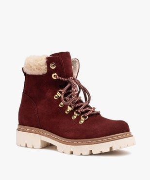 Boots fourrées femme dessus cuir à col sherpa vue2 - GEMO (CASUAL) - GEMO