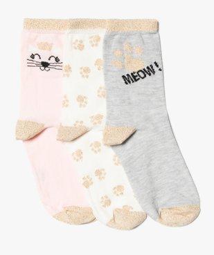 Chaussettes fille motif chat avec détails pailletés (lot de 3) vue1 - GEMO (ENFANT) - GEMO