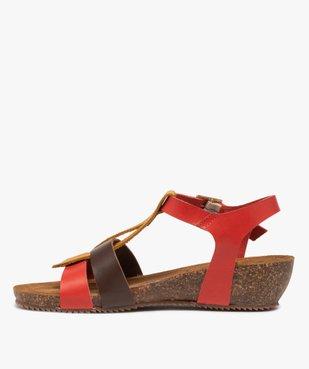 Sandales femme à brides en cuir colorées et talon compensé vue3 - GEMO (CASUAL) - GEMO