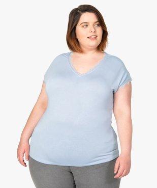 Tee-shirt femme sans manches avec finitions dentelle vue1 - GEMO (G TAILLE) - GEMO