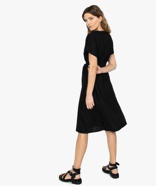 Robe femme boutonnée en lin/viscose vue3 - GEMO(FEMME PAP) - GEMO