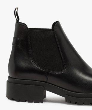 Boots femme style chelsea unis à talon carré et semelle crantée  vue6 - GEMO (CASUAL) - GEMO
