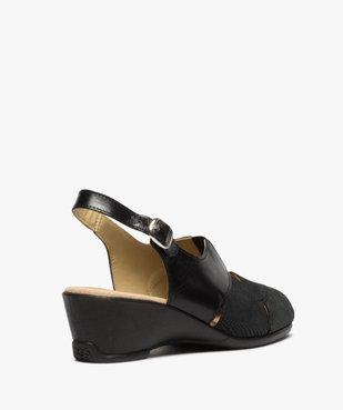Sandales femme confort en cuir uni et talon compensé vue4 - GEMO (CONFORT) - GEMO