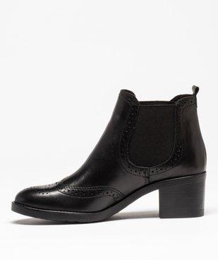Boots femme à talon dessus cuir uni avec perforations vue3 - GEMO(URBAIN) - GEMO