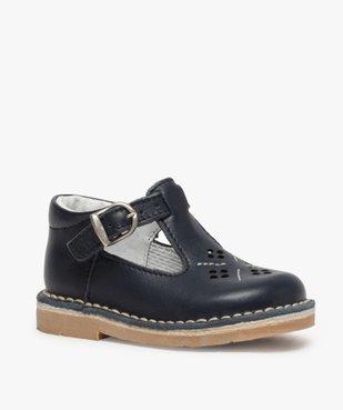 Chaussures bébé garçon ouvertes dessus et intérieur cuir vue2 - GEMO(BEBE DEBT) - GEMO