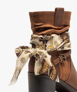 Boots femme à talon avec foulard et brides décoratives vue6 - GEMO(URBAIN) - GEMO