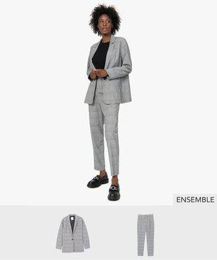 Ensemble costume pantalon pour femme à carreaux - GEMO