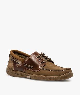 Chaussures bateau homme à lacets dessus cuir vue2 - GEMO (CONFORT) - GEMO