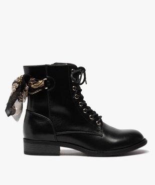 Boots femme à talon plat unis avec ruban fantaisie vue1 - GEMO (CASUAL) - GEMO