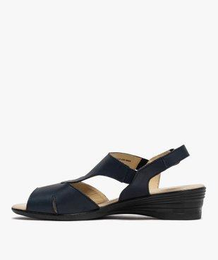 Sandales femme confort en cuir avec petit talon vue3 - GEMO (CONFORT) - GEMO