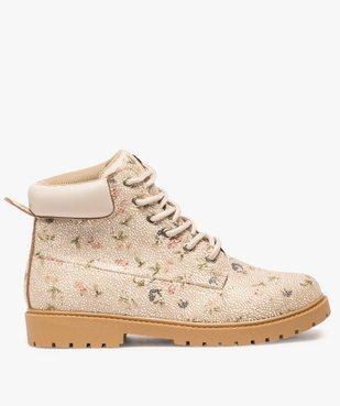Boots femme à lacets col rembourré et semelle crantée Dessus imprimé fleuri vue1 - GEMO (CASUAL) - GEMO