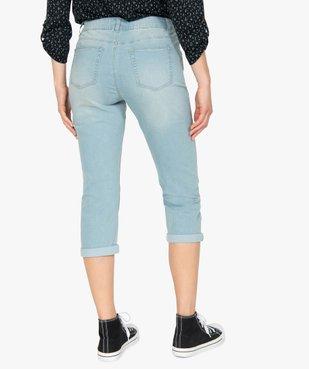 Pantacourt femme en jean délavé 5 poches et taille normale vue3 - GEMO C4G FEMME - GEMO