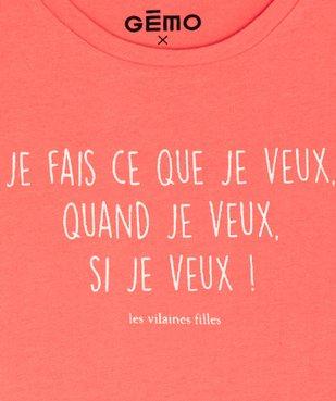 Tee-shirt fille à message pailleté - GEMO x Les Vilaines filles vue2 - VILAINES FILLES - GEMO