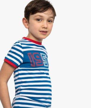 Tee-shirt garçon à rayures et inscriptions – Lulu Castagnette vue1 - LULUCASTAGNETTE - GEMO
