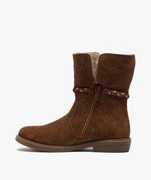 Boots fille unies en cuir fermeture zippée et doublure douce vue3 - Nikesneakers (ENFANT) - Nikesneakers