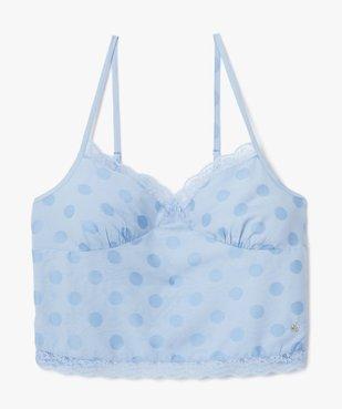 Haut de pyjama femme crop top à fines bretelles et pois - LuluCastagnette vue4 - LULUCASTAGNETTE - GEMO