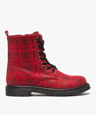 Boots femme rangers à semelle crantée lacets contrastés Dessus à carreaux vue1 - GEMO (CASUAL) - GEMO