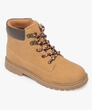 Boots garçon avec col rembourré, lacets montagne et semelle crantée vue5 - GEMO (ENFANT) - GEMO
