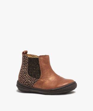 Boots bébé fille dessus cuir irisé façon Chelsea - Bopy vue2 - BOPY - GEMO