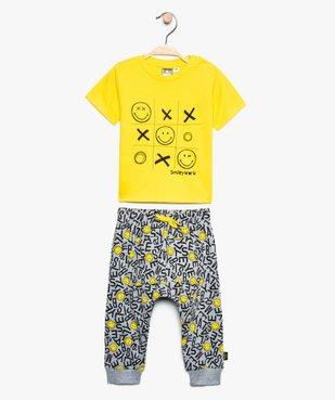Ensemble bébé garçon (2 pièces) : tee-shirt + pantalon - SmileyWorld vue1 - SMILEY - GEMO