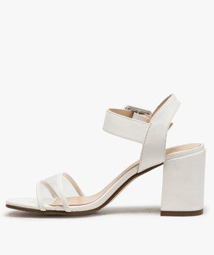 Sandales femme à talon carré et bride transparente vue3 - GEMO(URBAIN) - GEMO
