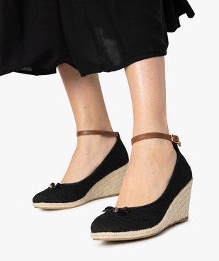Ballerines femme en broderie anglaise à talon compensé en corde vue1 - GEMO(URBAIN) - GEMO