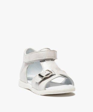 Sandales bébé fille unies en cuir avec reflets irisés vue2 - GEMO(BEBE DEBT) - GEMO