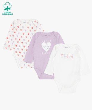 Body bébé à manches longues imprimé cœurs  (lot de 3) vue1 - GEMO C4G BEBE - GEMO