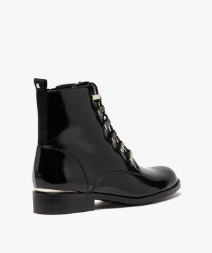 Boots femme unies et vernies à passants métalliques vue4 - GEMO (CASUAL) - GEMO