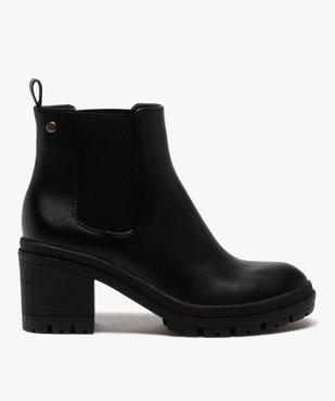 Boots femme unis à talon carré et semelle crantée vue1 - GEMO(URBAIN) - GEMO