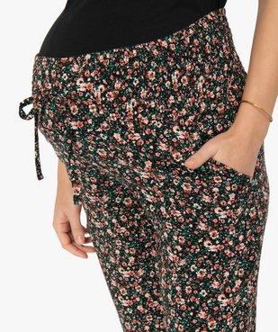 Pantalon de grossesse imprimé et fluide à taille smockée vue2 - GEMO (MATER) - GEMO
