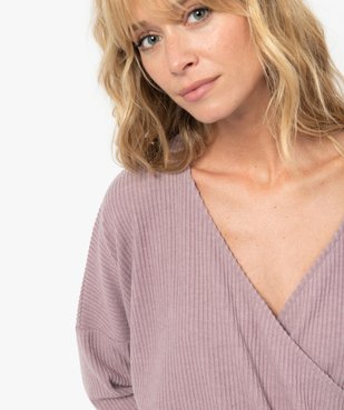 Haut de pyjama femme cache-cœur en maille côtelée extra douce vue2 - GEMO(HOMWR FEM) - GEMO