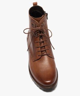Boots femme à lacets dessus cuir à bordures fleuries vue5 - GEMO (CASUAL) - GEMO