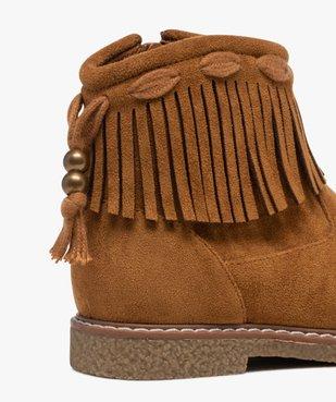 Boots fille en suédine unie avec col à franges vue6 - GEMO (ENFANT) - GEMO