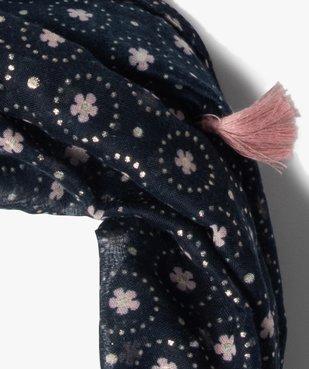 Foulard fille forme snood à motifs fleuris et pompons vue2 - Nikesneakers C4G FILLE - Nikesneakers