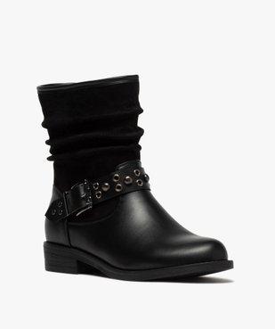 Boots femme style motardes unies à talon plat vue2 - GEMO (CASUAL) - GEMO